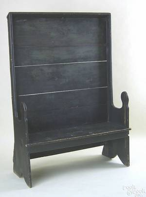 New England painted pine settle late 18th c