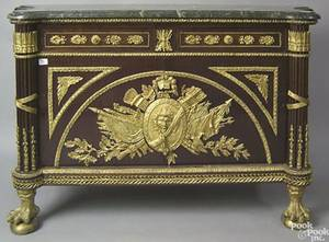 Contemporary French style marble top sideboard with ormolu mounts