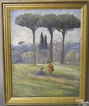 R Moretti oil on canvas on board scene of children in the woods