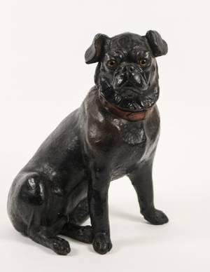 English Polychrome Terra Cotta Dog Sculpture