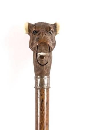 Carved Wood  Ivory Articulating Dog Motif Cane