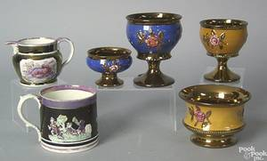 Six pieces of luster to include 2 goblets