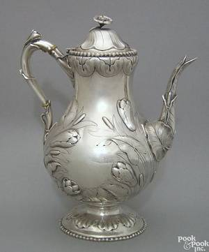 Eoff  Shepherd New York NY coin silver repousse teapot ca 1850