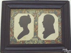 Framed pair of Peale Museum hollowcut silhouettes early 19th c