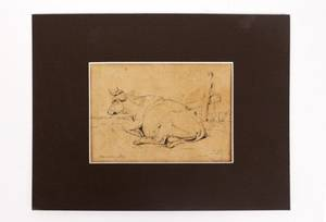 Eugene Verboeckhoven Ink Drawing of Cow