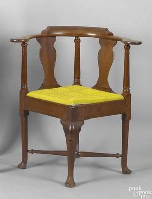 English Queen Anne mahogany corner chair ca 1760