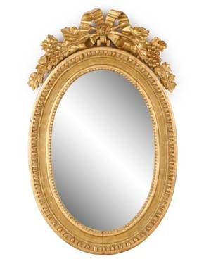Diminutive Oval Carved Giltwood Mirror 19th C