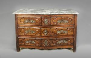 18th C French Provincial Walnut  Marble Commode