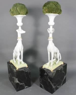 Pair Italian LifeSize Ceramic Whippet Jardinieres