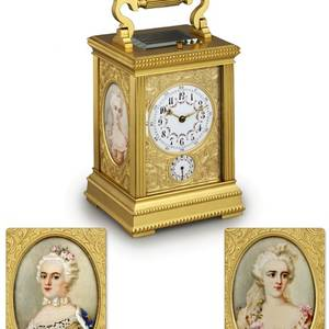 CARRIAGE CLOCK WITH MINIATURE PORTRAITS