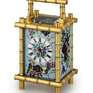 CARRIAGE CLOCK WITH PORCELAIN PANELS French