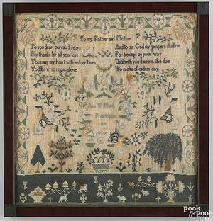 Philadelphia silk on linen needlework sampler dated 1830