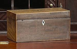 George II mahogany tea caddy ca 1785