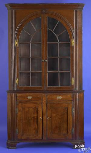 Pennsylvania Federal cherry 2part architectural corner cupboard ca 1810