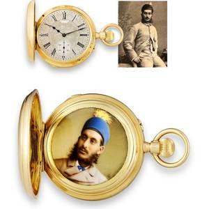 Grande  Petite Sonnerie Clockwatch Wth Concealed Enamel Portrait of the Sixth Nizam of Hyderabad Attributed to Henri Grandjean  Cie
