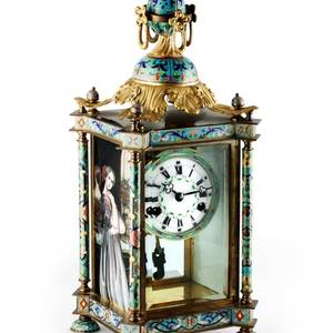 Champlev Mantel Clock with Painted Enamel Panels French