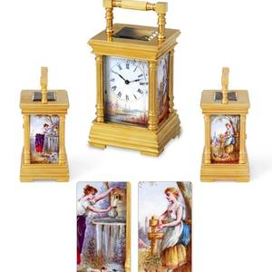 Miniature Carriage Clock with Porcelain Panels French