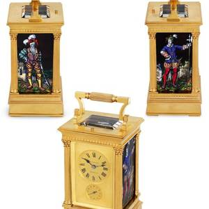French  Carriage Clock with Limoges Enamel Panels French