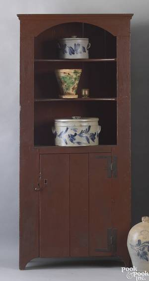 New England painted pine wall cupboard 18th c