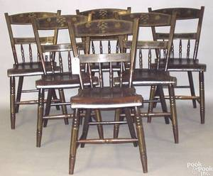 Set of 6 painted plank seat chairs ca 1820