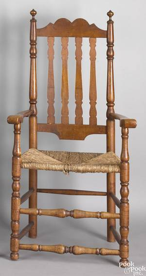 New England maple and figured maple banister back armchair ca 1740