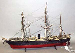 Carved and painted ship model of the