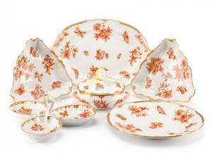 Herend China Fortuna Rust 7 Serving Pieces