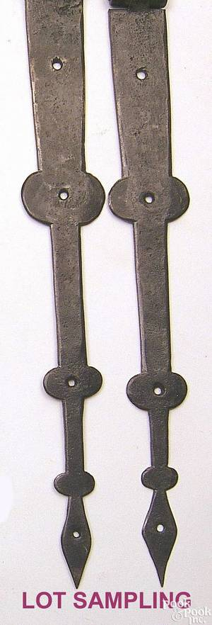 Three pair of Pennsylvania wrought iron blanket chest hinges