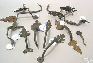 Ten Berks County Pennsylvania wrought iron thumb latches 18th19th c