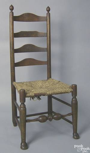 New England Queen Anne ladderback side chair mid 18th c
