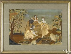 New England silk and paint on silk embroidery ca 1810