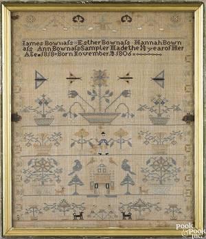 Pennsylvania silk on linen needlework dated 1806