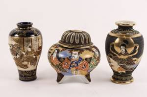 Group of Three Japanese Porcelain Items Marked