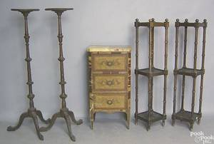 Five pieces of furniture to include a French marble top 3drawer commode