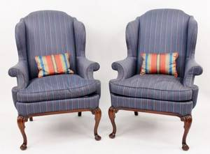 Pair of Blue Upholstered Wing Back Chairs