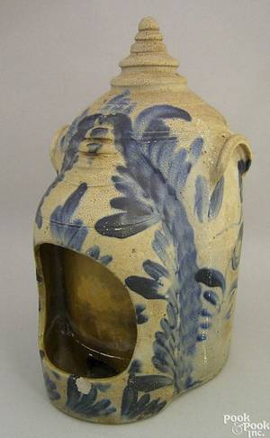 Large stoneware bird feeder mid 19th c