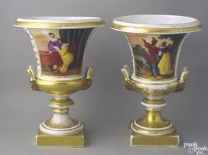Pair of Paris porcelain vases mid 19th c