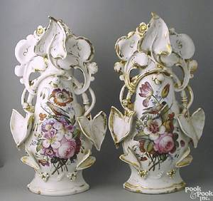 Large pair of Paris porcelain vases ca 1820