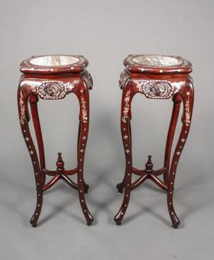Pair of Chinese Rosewood Marble  MOP Stands