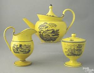 Canary teapot creamer and covered sugar 19th c