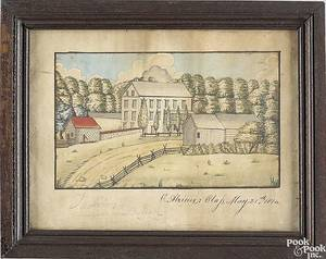 Celestine AlgieuxPhiladelphia Pennsylvania early 19th century  Watercolor on paper farm scene with farm house and outbuildings set in a grove of trees signed lower left C Algieux I Class May 21st 1814 and in pencil near Nazareth 6 12