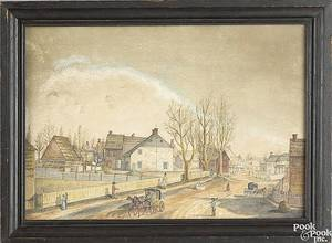 Pennsylvania watercolor on paper town scene ca 1800