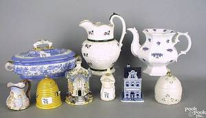 Group of porcelain and ironstone to include Chelsea pitcher