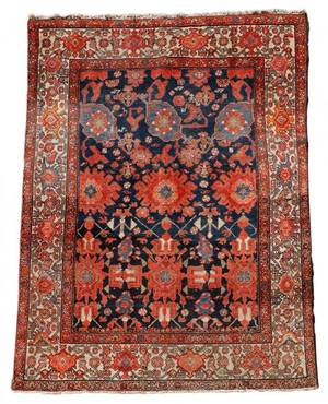 Hand Woven Area Rug Red Brown Blue Geometric