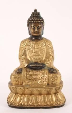 Gilt Bronze Buddha Figural Sculpture