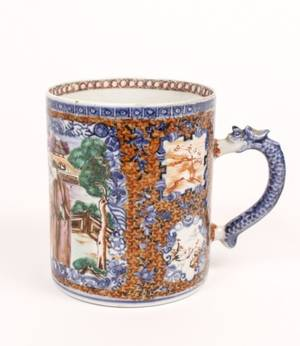 Chinese Export Porcelain Handled Mug 19th C
