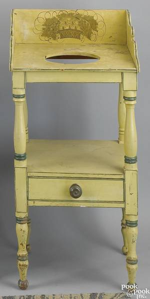 New England Federal painted pine washstand ca 1820