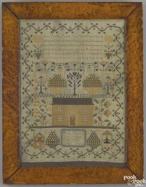 English silk on linen sampler