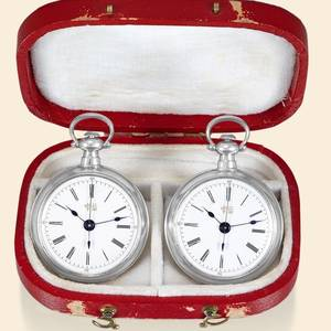 Pair of Miniature Silver Watches Felix Guinand