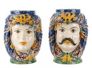 Italian His  Hers Glazed Terracotta Jardinieres